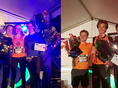 Noor Kuilenboer en Jeff Tesselaar winnen de 5km HHW Cityrun by night